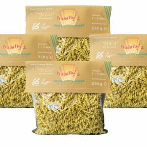 Nudelly's Quattro Millet vegane Pasta glutenfrei im 4er-Pack, Hirsemehl, vegane Nudeln als Fusilli, low-carb, vegan, sojafrei